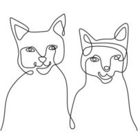 Continuous one line drawing of two happy cat funny faces. A kitten couple is sitting isolated on white background. Doodle animals icons minimalistic line art. Vector Valentine's Day illustration