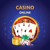 Casino vip luxury invitation card with casino chips and playing cards vector
