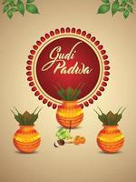Gudi padwa south indian festival background vector