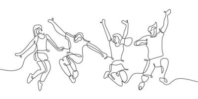 One single continuous line drawing of four jumping happy teen team members isolated on white background. vector