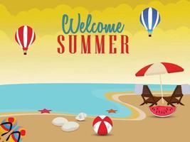 Beach scene of summer holiday with beach chair, beach ball a vector