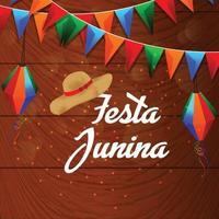 Fondo de fiesta junina con elemento de linterna de papel de colores vector
