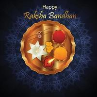 Happy rakhi decorative rakhi with gold and crystal with gifts vector
