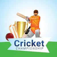 Cricket league match with illustration of cricketer vector