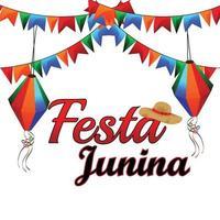 Ilustración de vector de festa junina con bandera de fiesta colorida