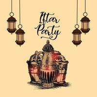 Hand draw iftar invitation background vector