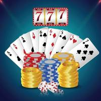 Casino luxury vip invitation card with playing cards and casino chips vector