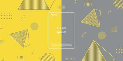 Trendy background with geometric element with gradient of yellow and grey color vector