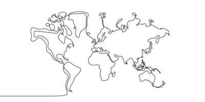 Continuous line drawing of globes earth. Globe similar world map silhouette backdrop for Education, Travel worldwide, info graphics, Science, Web Presentations isolated on white background vector