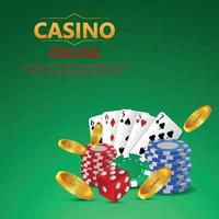 Casino online gambling game with golden text with playing cards and casino chips vector