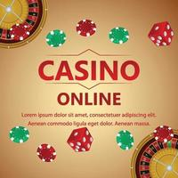 Casino online game with poker dice and casino chips and background vector