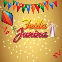 Tarjetas de invitación de Festa Junina con guitarra y linterna de papel sobre fondo blanco. vector