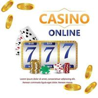 Casino gambling game with golden text and playing cards and casino slot vector