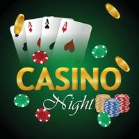 Vector casino gambling game with playing cards and chips and gold coin