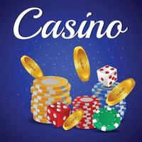 Casino online game background with casino chips and dice vector