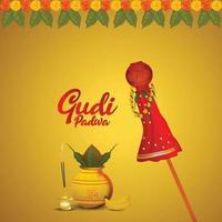 Tarjeta de felicitación de celebración de gudi padwa y fondo vector