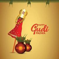 Ilustración del festival de gudi padwa de la india con fondo vector