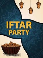 Iftar party invitation with hand draw illustration vector