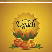 Feliz celebración de ugadi tarjeta de felicitación o antecedentes vector