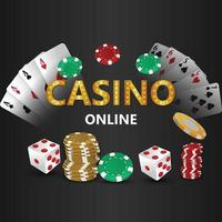 Casino online gambling game with playing card with poker dice and gold coin vector