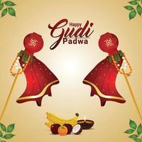 feliz ilustración de gudi padwa con kalash tradicional con thali de frutas vector