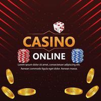 Casino luxury vip gold coin with colorful chips and dice vector