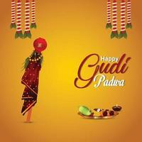 Tarjeta de felicitación de celebración de gudi padwa con kalash tradicional creativo y fondo vector