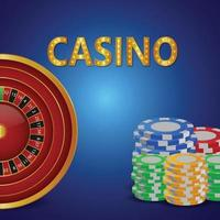 Realistic casino background with colorful casino chips with slot vector