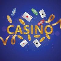 Fondo de casino realista con fichas de colores y tragamonedas. vector