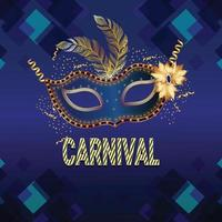 Realistic brazilian carnival vector illustration with golden mask