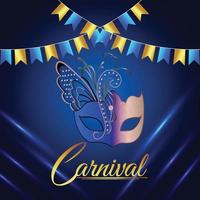 Carnival celebration invitation background with creative mask vector