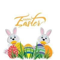 Happy easter greeting card with colorful easter egg and easter bunny vector