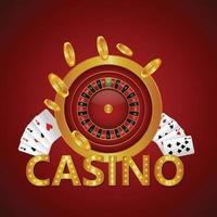 Casino golden text with playing cards with golden coin and slot vector