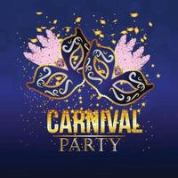 Carnival vector illustration with golden mask with golden text
