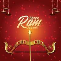 Creative golden vector illustration of happy ram navami celebration greeting card
