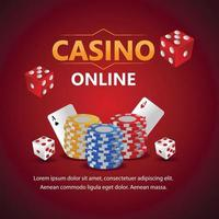 Casino online gambling game with play cards and casino chip vector
