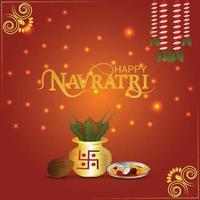 Creative kalash for shubh navratri indian festival background vector