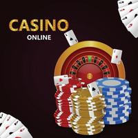 Casino online game with casino slot with colorful chips vector