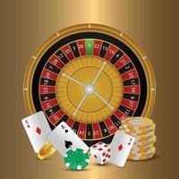 Ilustración de vector de casino y fondo con cartas de juego creativas y ruleta