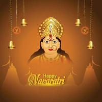Indian festival happy navratri celebration background with goddess durga illustration vector