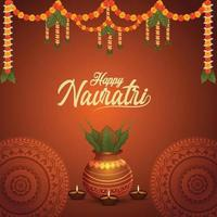 Shubh navratri celebration greeting card and background with golden kalash vector