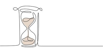 One continuous line drawing of hourglass. One line design style illustration of Hourglass  isolated on white background. Time management, deadline concept. High quality image for your presentation vector