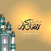 La tarjeta de felicitación de Ramadán Kareem con una gran mezquita verde y caligrafía árabe significa acebo Ramadán. boceto dibujado a mano elegante diseño. vector