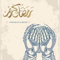 tarjeta de felicitación de Ramadán Kareem con dibujo a mano rezando y caligrafía árabe dorada significa Ramadán de acebo. aislado sobre fondo blanco. boceto de diseño elegante. vector