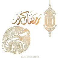 Tarjeta de felicitación de Ramadán Kareem con boceto de linterna y artillero y caligrafía árabe significa Ramadán de acebo. Ilustración de vector dibujado a mano vintage aislado sobre fondo blanco.