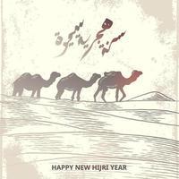 feliz año nuevo hijri tarjeta de felicitación con manada de camellos. boceto dibujado a mano elegante diseño. vector