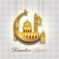 tarjeta de felicitación de Ramadán Kareem con gran mezquita dorada en media luna dorada, linterna colgante y caligrafía árabe significa ramadán acebo. boceto dibujado a mano elegante diseño aislado sobre fondo blanco. vector