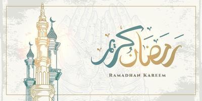 Tarjeta de felicitación de Ramadán Kareem con boceto de torre de mezquita grande y caligrafía árabe significa Ramadán de acebo aislado sobre fondo blanco. vector