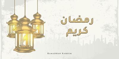 La tarjeta de felicitación de Ramadán Kareem con una gran linterna dorada y caligrafía árabe dorada significa Ramadán de acebo. boceto dibujado a mano elegante diseño. vector