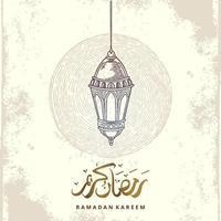 tarjeta de felicitación de Ramadán Kareem con dibujo de linterna y caligrafía árabe significa acebo Ramadán. Ilustración de vector dibujado a mano vintage aislado sobre fondo blanco.